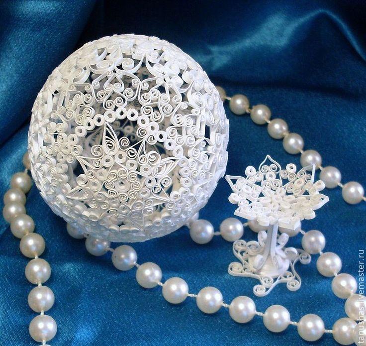 """Купить Яйцо """"Бумажное кружево"""" - белый, жемчужный, яйцо, Пасха, подарок на свадьбу, подарок на Пасху"""