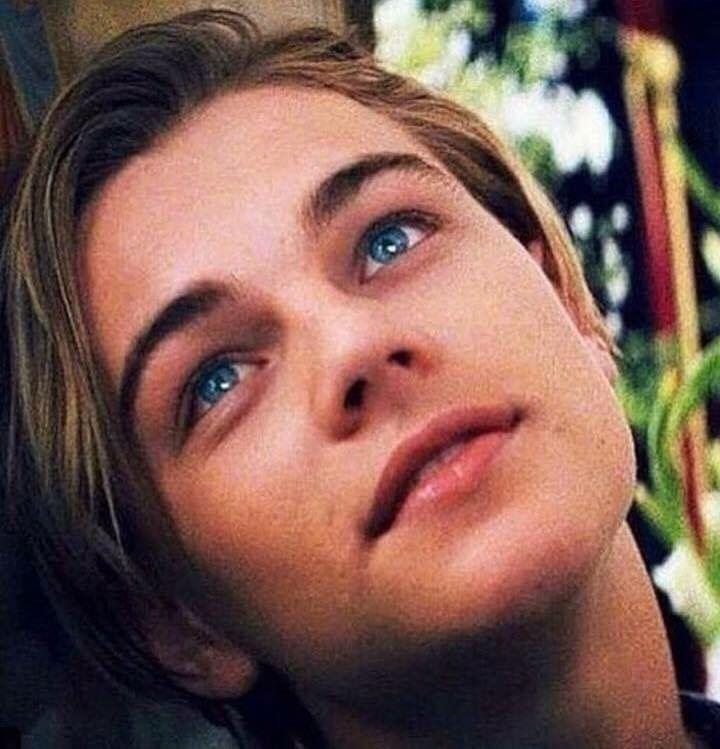 His blue eyes