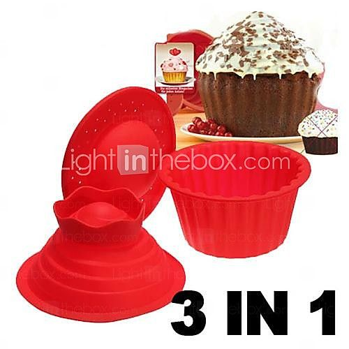 Big Top Cupcake Pan Giant Silicon Mold Bake 3 Set  - USD $14.99