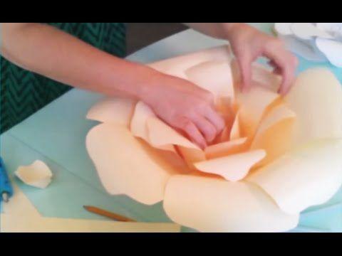 How to make GIANT PAPER ROSE by Madammouth - มาดามเม้าท์สอนทำกุหลาบกระดาษขนาดใหญ่ (มากกก) - YouTube