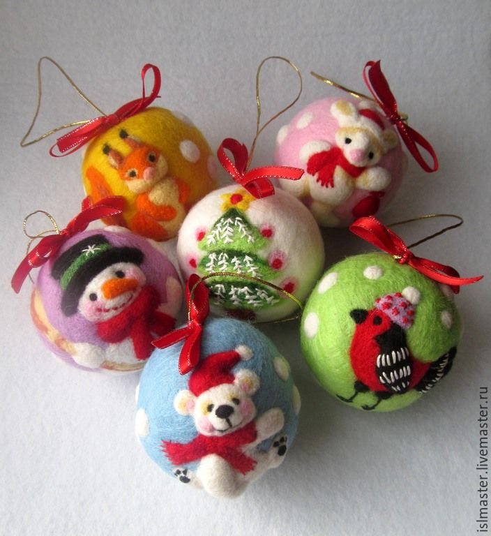 Купить или заказать Набор новогодних шариков из шерсти 'Новый год в лесу' в интернет-магазине на Ярмарке Мастеров. Где-то снежно, где-то вьюжно, Где-то белый снег идёт. Каждой ёлке для потехи В лапу звёздочку кладёт. Белка щелкает орехи – Стужу дома переждёт. Где-то снежно, где-то вьюжно, Где-то белый снег идёт. Белый заяц – непоседа По уши в снегу бредёт: Добежать бы до соседа – Вместе встретить Новый Год! (Андрис Веян «Песенка» перевод с латышского Людмилы Копы…