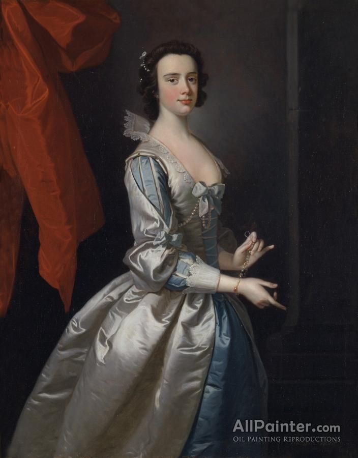 Thomas Hudson,Portrait Of A Woman,probably Elizabeth Aislabie,of Studleyroyal,yorkshire oil painting reproductions for sale