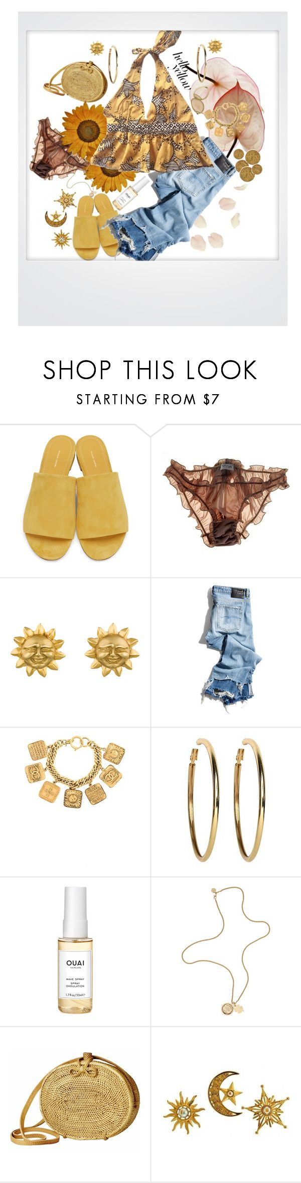 """""""Yellow day"""" by piizzza ❤ liked on Polyvore featuring Mansur Gavriel, Myla, R13, Chanel, Kenneth Jay Lane, Ouai, Mulberry, Polaroid, PopsOfYellow and NYFWYellow"""