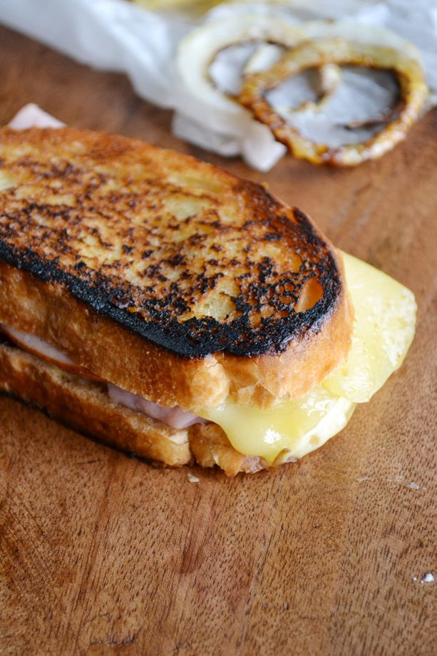 jarlsberg grilled cheese w/ caramelized onion and ham