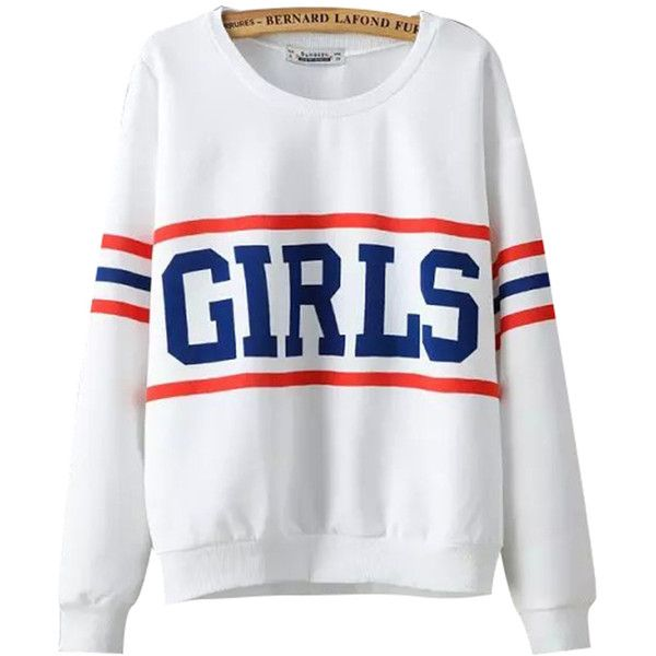 Chicnova Fashion Preppy Style Crew Neck Print Sweatshirt ($18) ❤ liked on Polyvore featuring tops, hoodies, sweatshirts, shirts, sweaters, sweatshirt shirts, sweatshirt hoodies, print top, crew neck tops and shirts & tops
