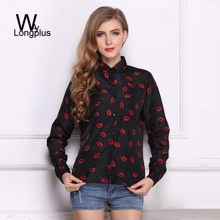 2016春新しい ファッション女性の ブラウス赤い唇プリント シフォン カジュアル レディー シャツホワイトブルーサイズ スタンド襟ボタン長袖ブラウス