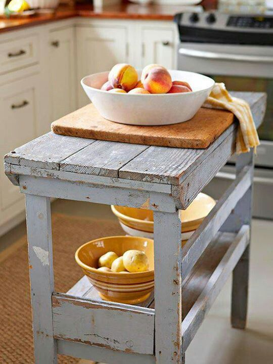 Kitchen island that is a color, distressed, and has a wood top like our kitchen table