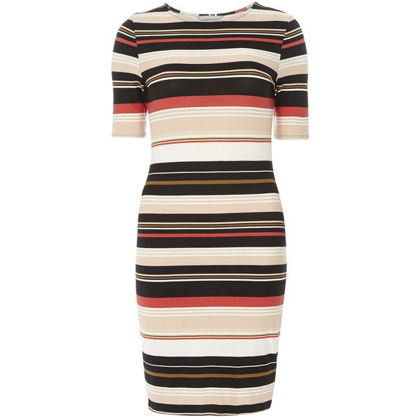 Dorothy Perkins Petite Stripe Bodycon Dress ($29) ❤ liked on Polyvore featuring dresses, coral, petite, kohl dresses, striped bodycon dress, body con dress, black striped dress and black bodycon dress