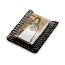 Clips de bani cu portcard Black Carbon,din piele - Dalvey