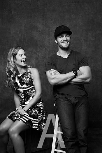 Emily Bett Rickards and Stephen Amell of Arrow. Olicity! Can't tell you how much I love them!