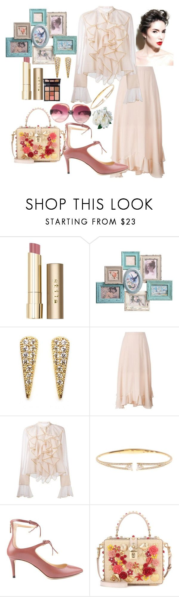 """Untitled #653"" by csfshawn on Polyvore featuring Stila, Melanie Auld, Chloé, See by Chloé, Charlotte Tilbury, Nadri, Jimmy Choo, Dolce&Gabbana and Yves Saint Laurent"