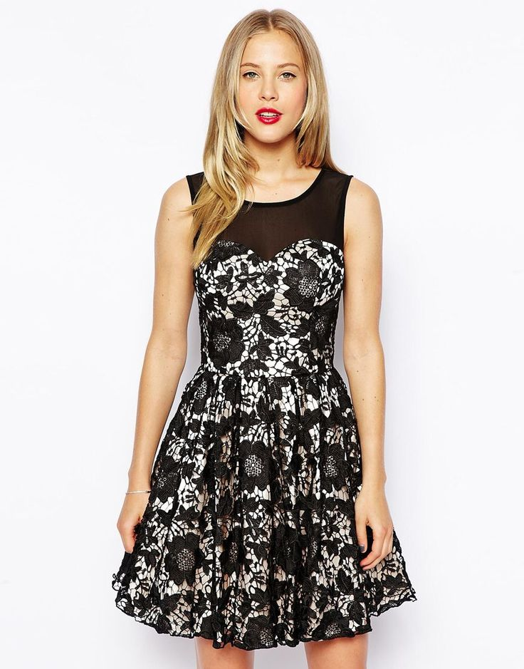 Chi Chi London Prom Dress with Lace Overlay