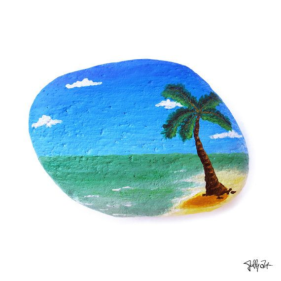 Tropical island, Hawaii, palm tree, sand sandy beach, sunny blue ocean sea, painted rock, pebble stone art, handmade,