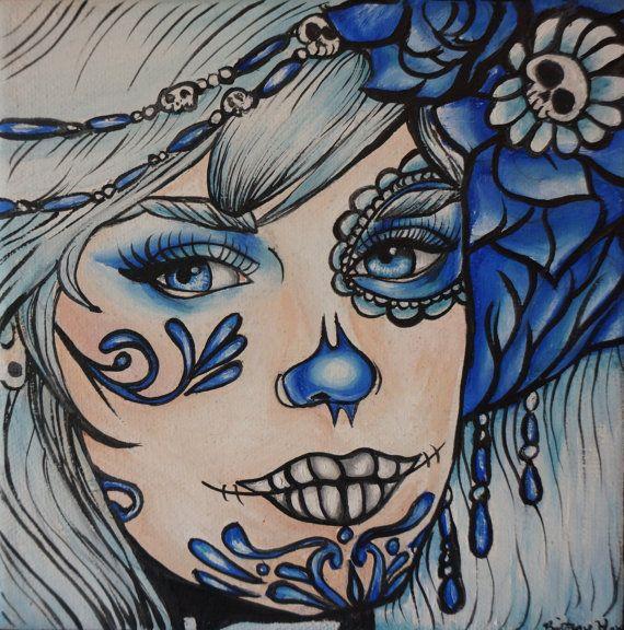 Day of the Dead Tattoo Art Tattoo home decor  Dia de los muertos PRINT 8 by 8  rockabilly pin up girl portrait  lowbrow sugar  skulls