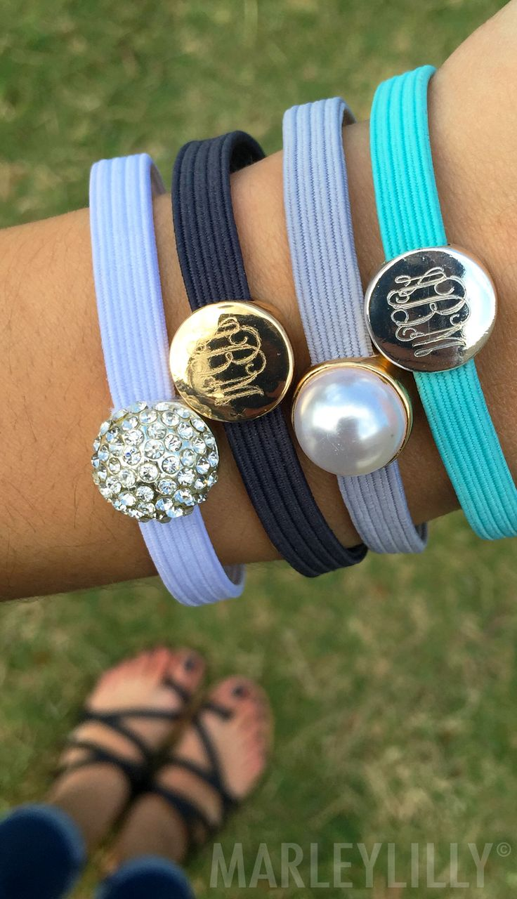 Throw away that plain black hair tie and replace it with this stylish Monogrammed Set! On sale now at www.marleylilly.com!