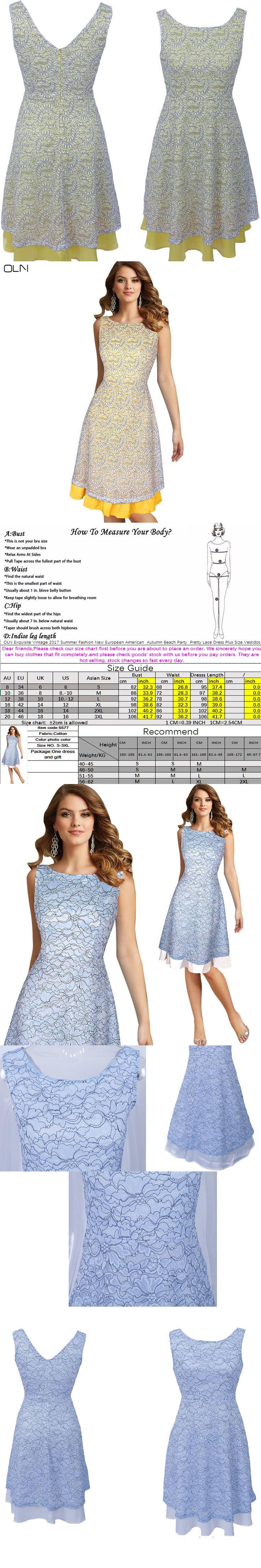 OLN Exquisite Vintage 2017 Summer Fashion New European American  Autumn Beach Party  Pretty Lace Dress Plus Size Vestidos