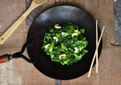 Mustard Green and Cashew Stir Fry (I do this with Sherlihon, the Chinese mustard greens I get from the Asian food store here).
