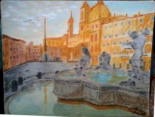 Piazza Navona (pezzo unico), pastelli ad olio su carta da spolvero 35X50 cm