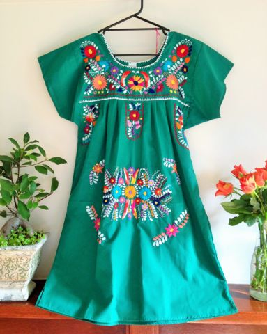 Short Mexican Puebla Dress - SMALL – Bohemian Tapestry