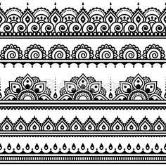 Mehndi, indische Henna tattoo nahtlose Muster, Design-Elemente — Stockilllustration #72759731