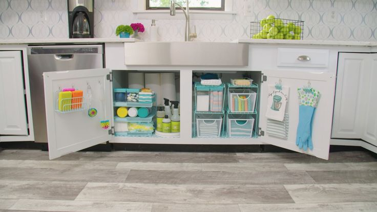 Organize kitchen cabinets on a budget with dollar store office supplies.