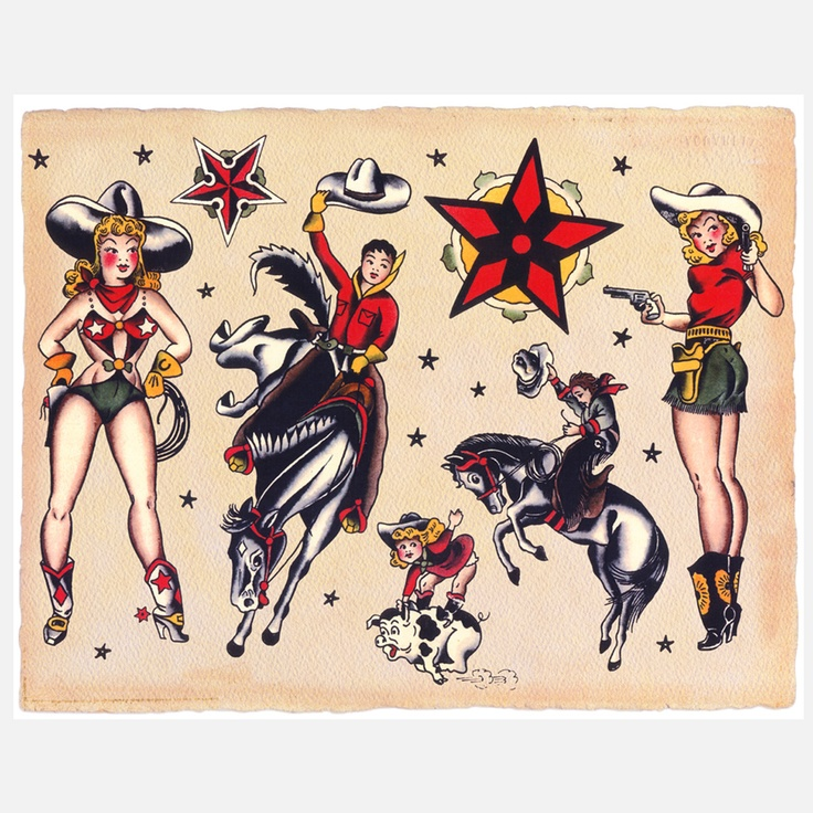 Sailor Jerry Tattoo Flash Cowboys & Cowgirls...I want the bronc rider on the left  only slap a pony tail on that dude :)