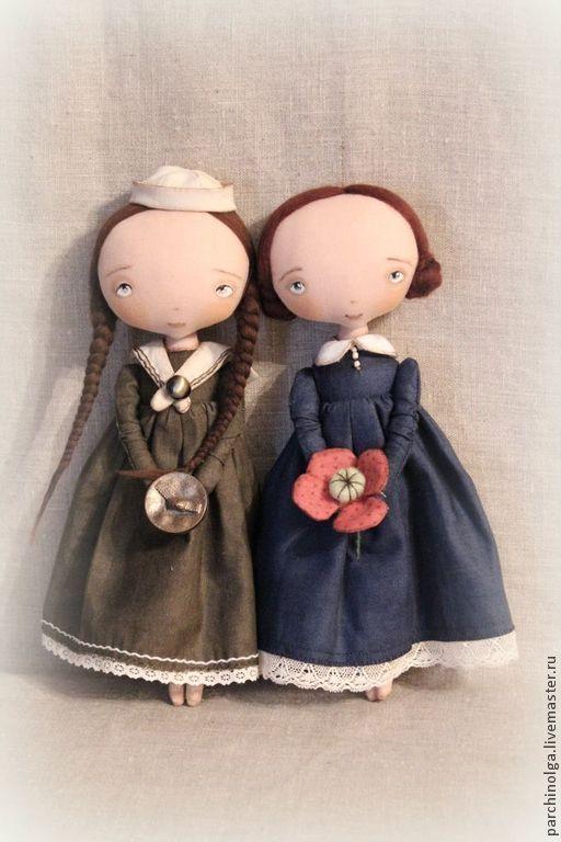 Купить У моря... - хаки, кукла ручной работы, кукла в подарок, кукла текстильная