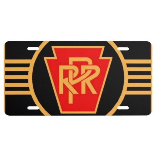 Pennsylvania Railroad Logo, Black  Gold License Plate ---$27.95-Express yourself with a custom front license plate to match your vanity plate! Create your designs from scratch or customize it with your images or text for a vibrantly printed license plate that will stand out. Made with aluminum, these plates are water-resistant and appropriate for operational use in states that do not require 2 plates. Great as a gift or for anyone who is licensed to drive!