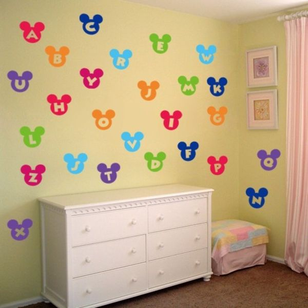 Colorful Mickey Mouse Nursery Wall Decor Adornment - Wall Art Design ...