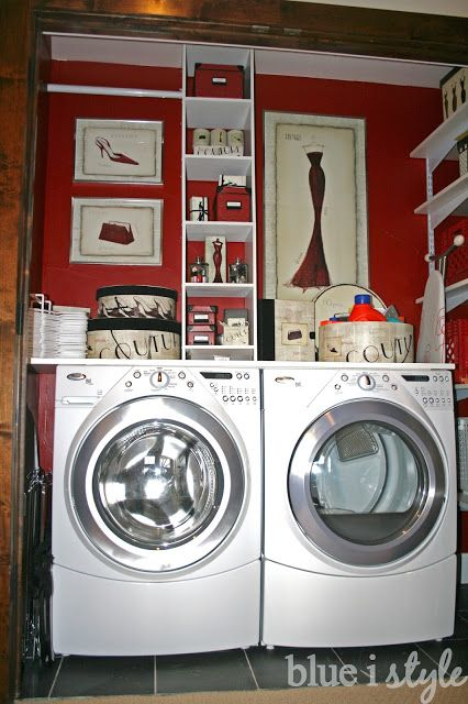 Create custom looking shelving in your laundry room for