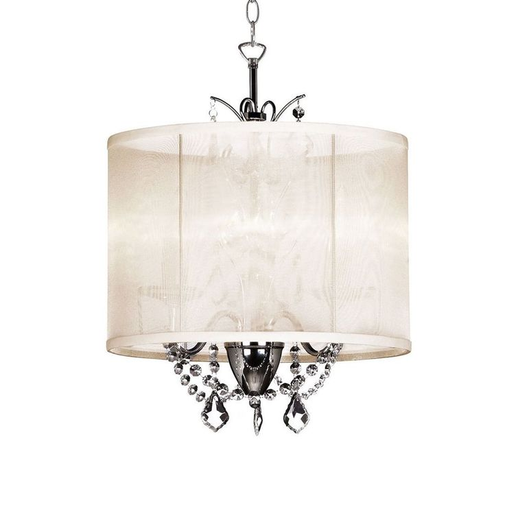 "Vanessa 3-Light 14"" Crystal Mini Chandelier with Oyster Color Organza Shade #Contemporary"