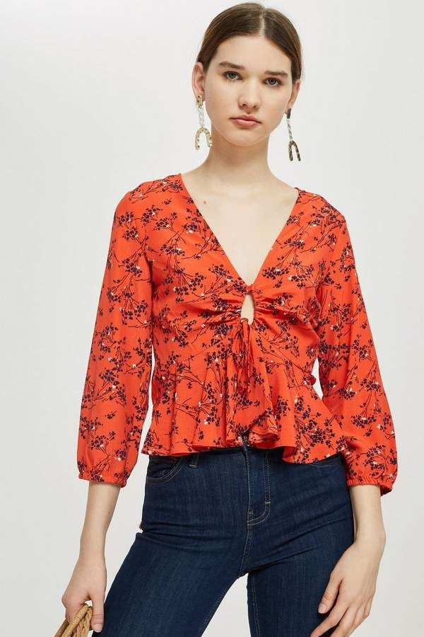 17ab860383ed6a Topshop Floral Print Blouse  blouse  pirinted blouse  western style  cool   stunning look  stylish  jeans top  smocked top  floral blouse   cold-shoulder top ...