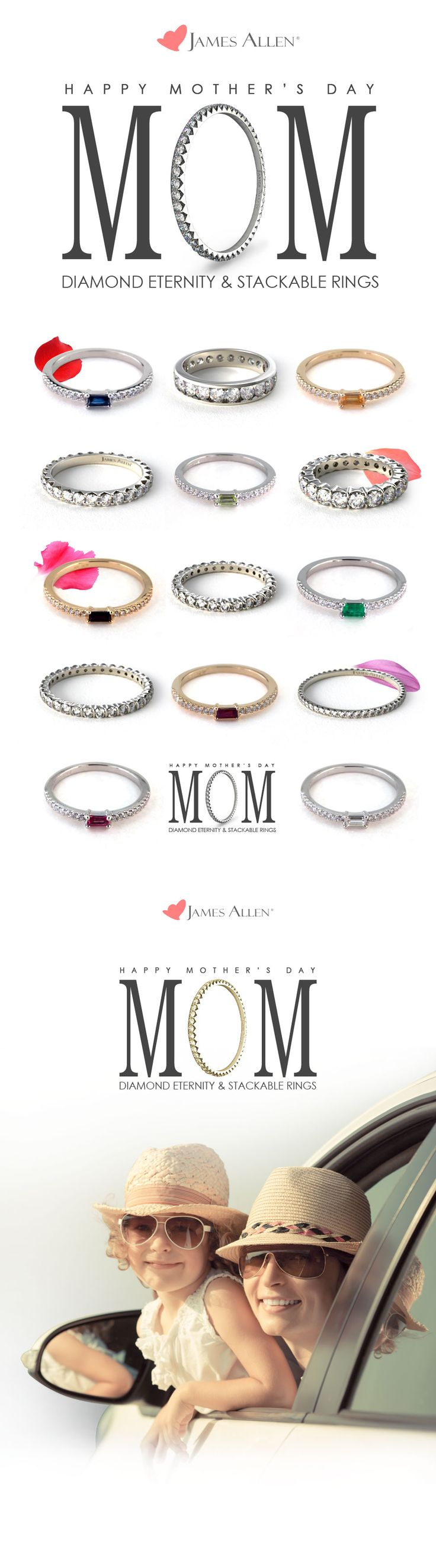 Mother's Day is coming up! Make it a sparkly one :-) Enjoy 15% Off Our Diamond Eternity & Stackable Rings! Use coupon code: MOM15 *Offer doesn't include loose diamonds and/or gemstones. Promotion ends Sunday, May 10th, 2015 at 11:59 PST. Cannot be combined with any other offer. #jamesallenrings