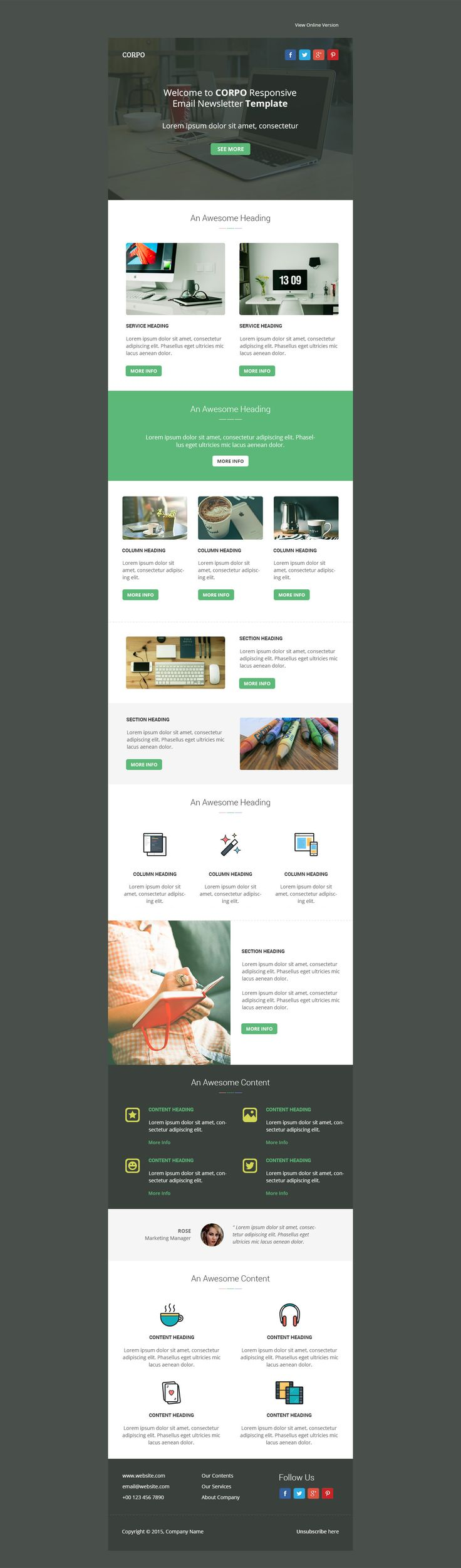 Multipurpose email template designed for general, corporate and blogging. - Download http://themeforest.net/item/corpo-responsive-email-template/12161179?ref=pxcr