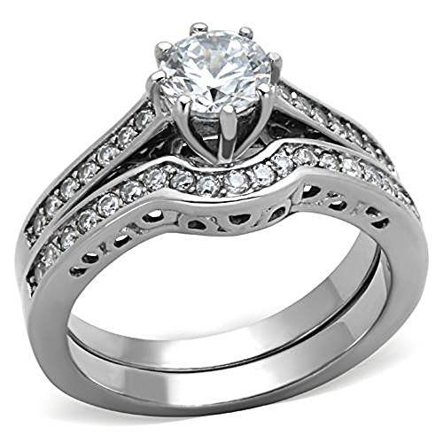 320 Cwt Round Cut Aaa Cz Cubic Zirconia High Polish Stainless Steel Wedding Ring Set Women