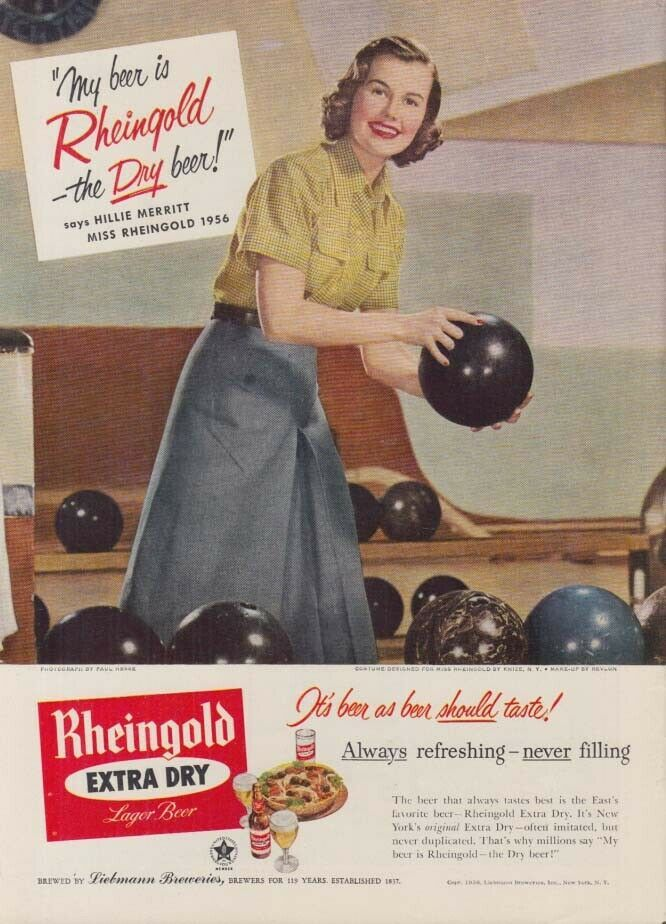 Miss Rheingold Beer Hillie Merritt Ad 1956 At The Bowling Alley In 2020 Bowling Alley Merritt Bowling