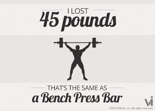 I lost 45 pounds! That is the same as a bench press bar. from the beginning of my first challenge