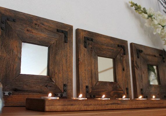 Set of 3 wooden mirrors  Rustic Industrial Eco by TheHoneyShack, $130.00