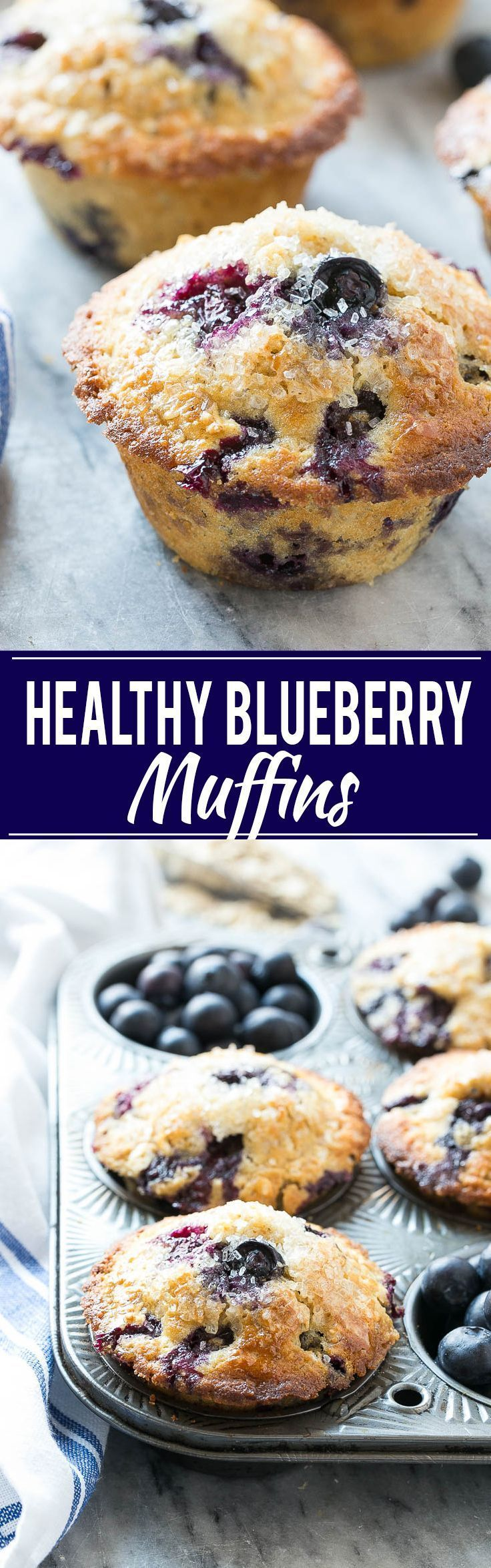 Healthy Blueberry Muffins - Made with whole wheat flour and oatmeal for added nutrition, but they still taste as good as the original version!