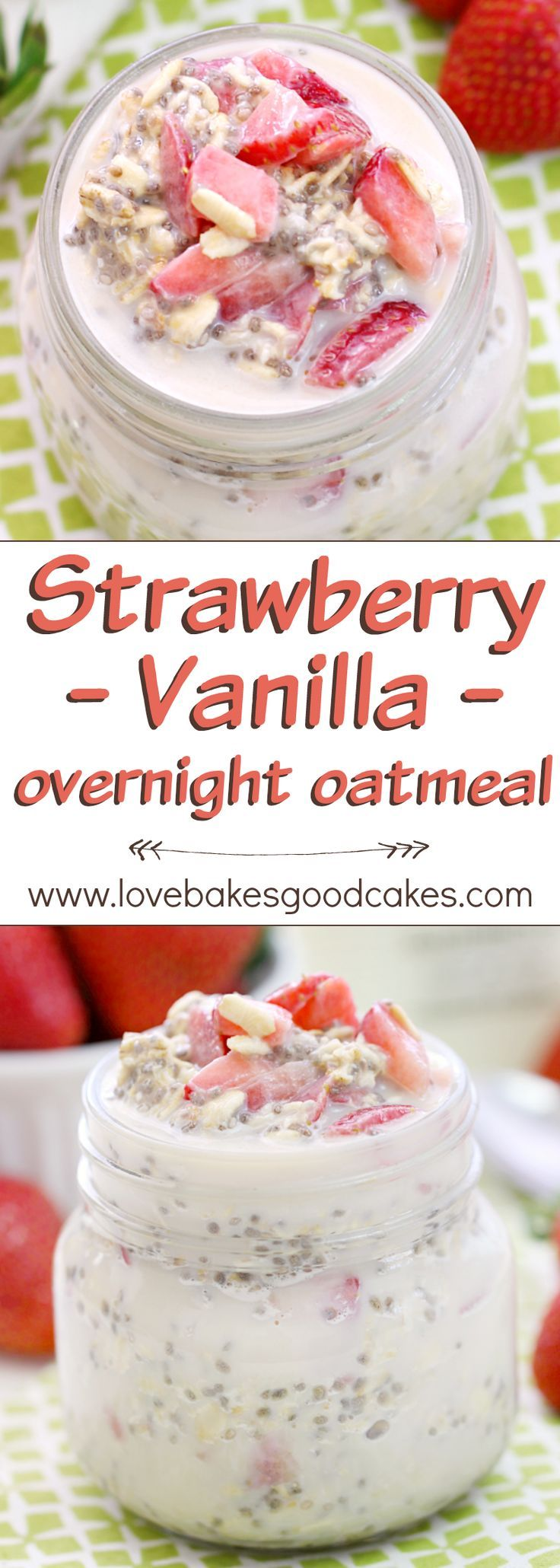 """Fuel up"" like Team USA with this Strawberry Vanilla Overnight Oatmeal recipe. It's a great way to start your day with a delicious and healthy breakfast! AD"