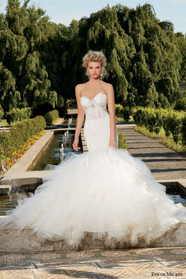 eve of milady fall 2014 2015 strapless fit flare mermaid wedding dress sweetheart neckline style 1535
