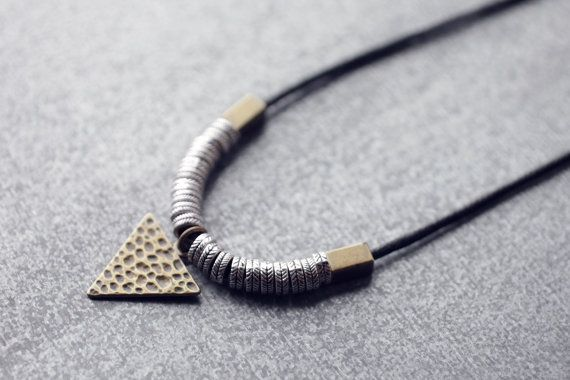 Triangle pendant long necklace with silver and brass beads