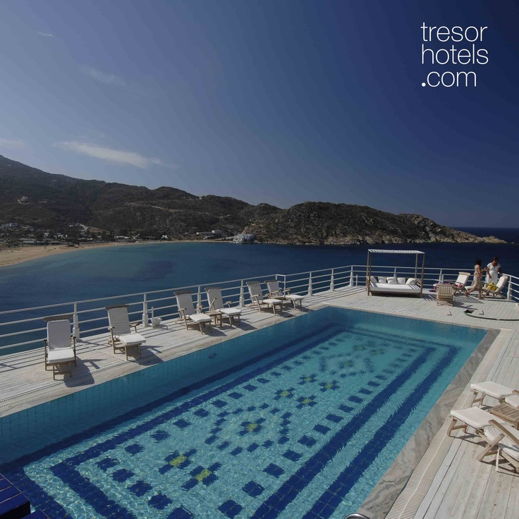 Trésor Hotels and Resorts_Luxury Boutique Hotels_#Greece_ #Ios #Palace #Hotel & #Spa overlooks Mylopotas bay just like as an ancient Greek theatre looks downwards to a great spectacle...Undoubtedly, a top choice for your stay while visiting the island of #Ios.