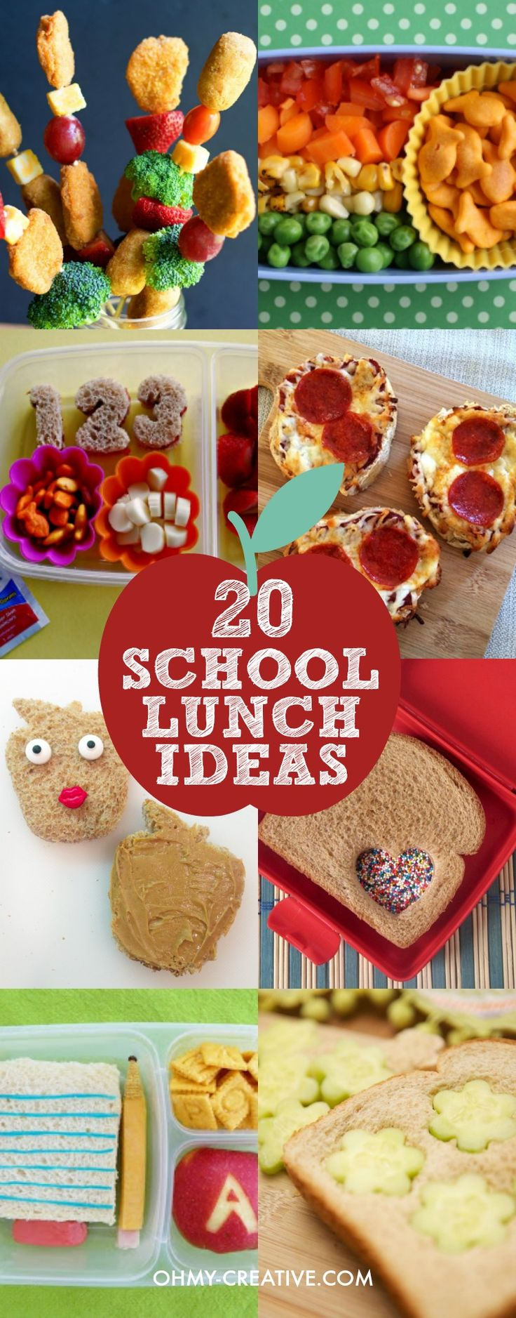 Here are 20 Creative School Lunch Ideas that will sure to be kid-pleasers. As parents, we like the kids to have healthy school lunches!