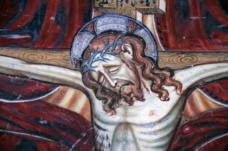https://flic.kr/p/5BQE9a | The Holy Trinity and Saints, San Bernardo a Monte Carasso | Di Cristoforo e Nicolao da Seregno.Parete meridionale della chiesa. Dio padre è assiso in trono e sostiene con le due mani il Crocifisso, su cui è posata la colomba dello Spirito Santo.L'architettura del trono, di tipo gotico, ha uno sviluppo notevole, soprattutto nella parte superiore. Ai lati della Trinità sono dipinti i Santi Agata, Lorenzo, Martino e Giovanni Battista, in posizione frontale.