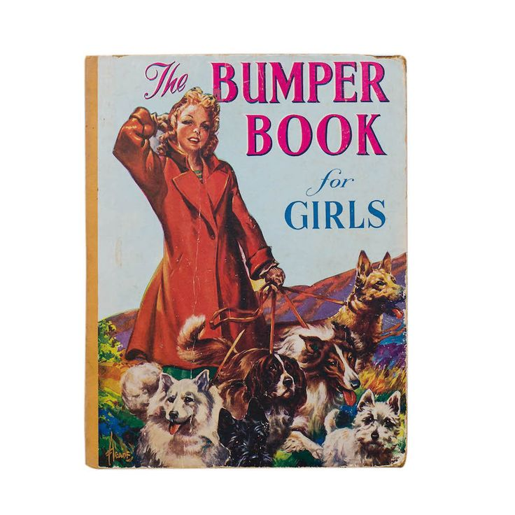 The Bumper Book for Girls An original vintage cardboard book cover from the 1940's, mounted on a black superwood frame that is suitable for hanging.  Nest, Stellenbosch