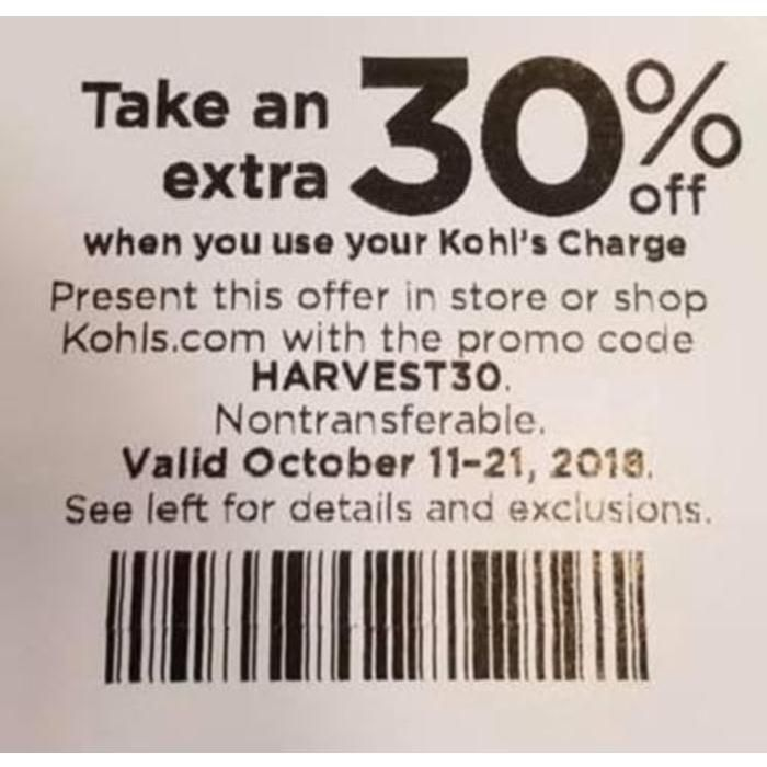 Kohls 30 Off Coupons Code Plus Free Shipping January 2019 Kohls