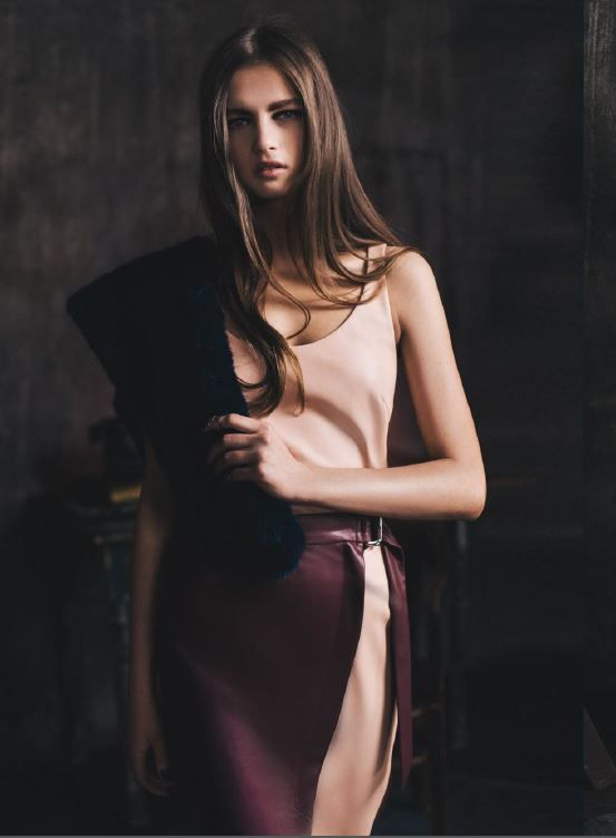 Kira Plastinina FW15/16 gold label leather tank and pencil skirt