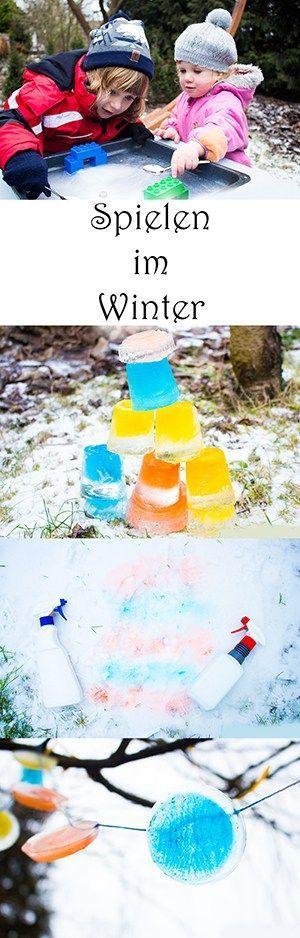 Spielen im Winter mit Eis und Schnee für Kinder, Kleinkinder, Kindergarten