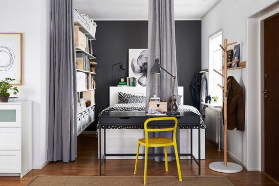 grey bedroom with yellow accent, 14 Styling Tricks To Steal From The IKEA 2015 Catalog
